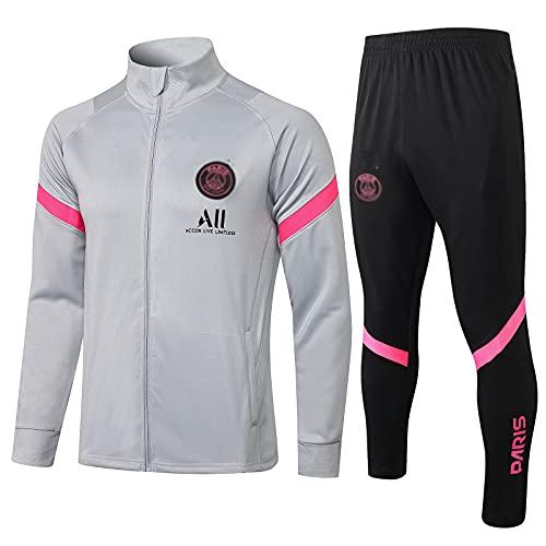 WZH-ZQQY Traje De Entrenamiento De Fútbol De Club De Campeonato Europeo Traje De Deporte Transpirable para Hombre (Chaqueta + Pantalones) -kpl-c1610(Size:Metro,Color:Gris)