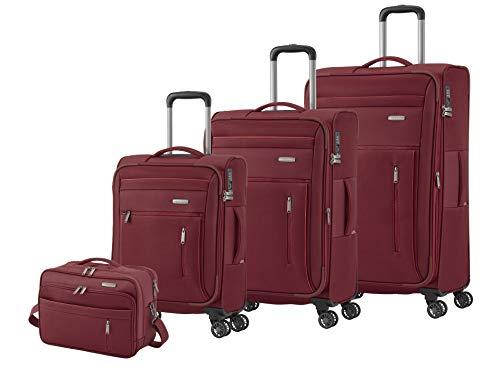 """Travelite Gepäckserie """"CAPRI"""" in 3 Farben: Praktische, elegante 2- und 4-Rad-Trolleys, Reise- und Bordtaschen Koffer-Set, 76 cm, 203 Liter, Rot"""