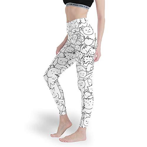 Mädchen Gedruckt Leggings Weich Yoga Hosen Sport Capris Tights für Workoutblack and White White XL