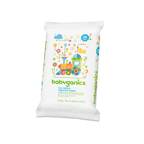 Babyganics Toy Table and High Chair Wipes, Fragrance Free, 25 ct