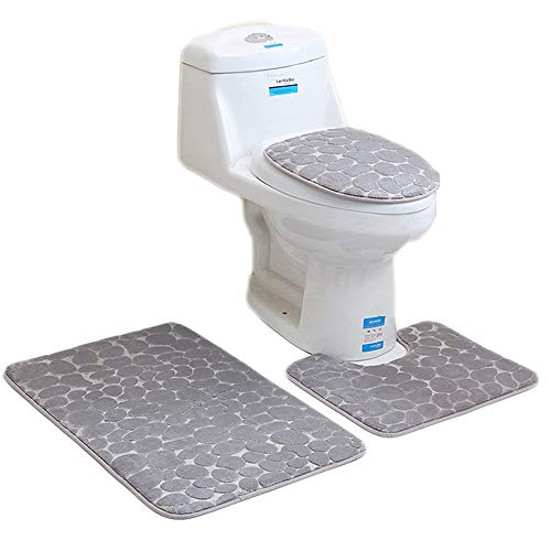 Aisaving 3pcs Non Slip Bath Mat Set Super Soft Pedestal and Bath Rug Memory Foam Pebble Shower Mat Quick Drying Bathroom Mat Carpet,U-Shaped Contour Mat and Toilet Seat Cover (Grey)