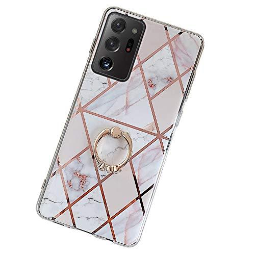 Herbests Kompatibel mit Samsung Galaxy Note 20 Ultra Hülle Handyhülle Glänzend Glitzer Bling Marmor Muster Silikon Schutzhülle Soft Stoßfest Handytasche mit Diamant Ring Halter Ständer,Rosa Weiß