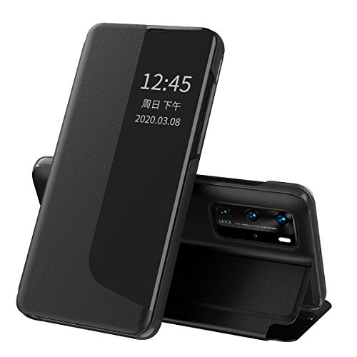 Oihxse - Funda para Huawei P30 Pro Smart View con función atril y cierre magnético, de silicona transparente, funda de piel original, color negro