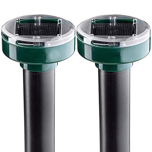 Repellente Solare per Talpe,Repellente Ultrasuoni per topi,Solare Repellente Zanzare 2 Pezzi,IP65 Impermeabile Repellente ad energia Solare ,Scaccia Talpe Solare per Anti-Talpe,Gopher, Serpenti