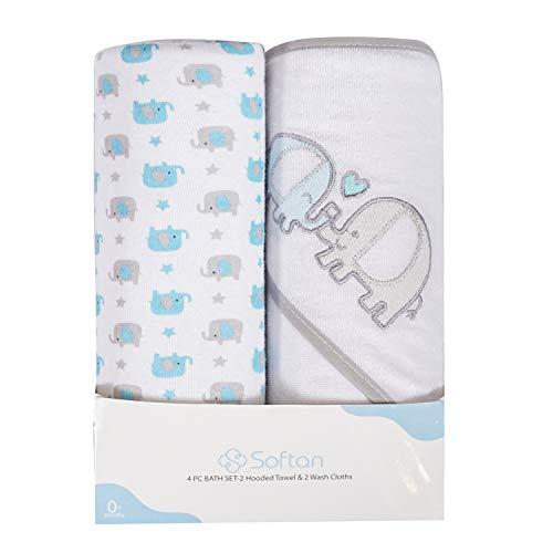 Baby Kapuzenhandtuch und Waschlappen Set, Natürliche Baumwolle, Tolles Geschenk für Säuglinge und Neugeborene 4 Packung, Elefant