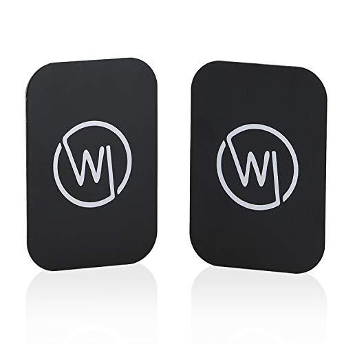 Wicked Chili 2 Stück Metallplatte für KFZ Handy Magnet Halterung, Selbstklebende Metallplättchen mit 3M Kleber für Magnethalterungen, Metall Platte Handyhalterung Magnethalter (rechteckig, schwarz)