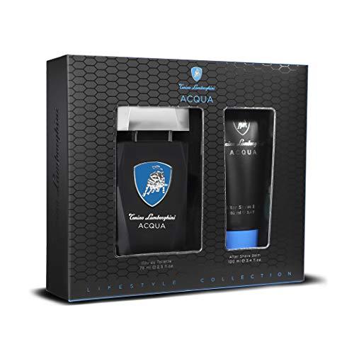 Tonino Lamborghini • Set de regalo de hombre ACQUA: Agua de tocador Spray 75 ml / 2.5 fl.oz. + Bálsamo para después de afeitar 100 ml / 3.4 fl.oz. • colección Lifestyle