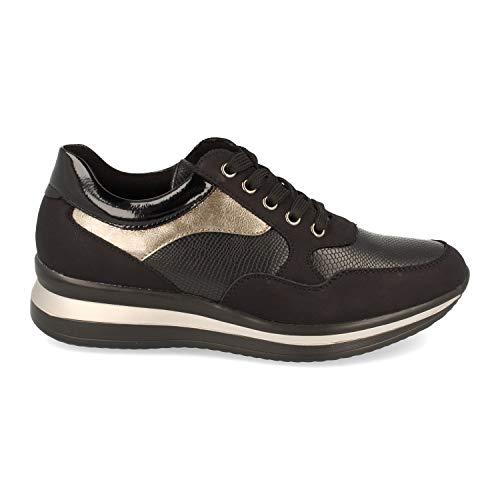 shoes&blues.es 50618-Damenpantoffeln mit Schlangenmuster und Glanz auf der Sohle, Schnursenkelverschluss, Herbst Winter 2020. Size 36 Negro