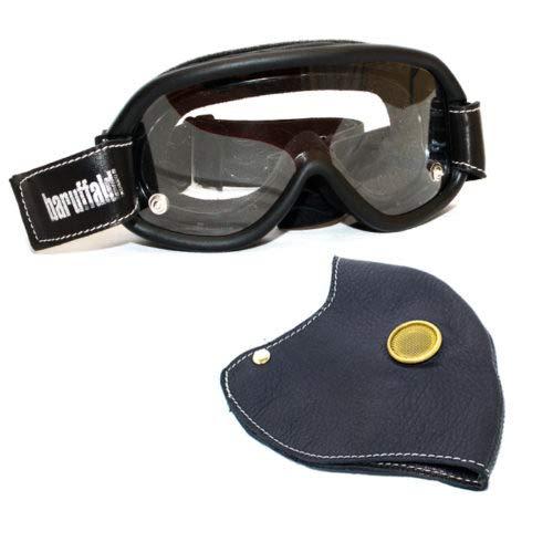 Máscara Hector R negra (para máscara Speed 4) Máscara protectora de auténtica piel napa y filtro antismog de carbón activo acoplado con tejido técnico.