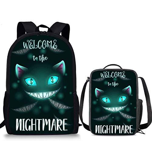 Cheshire - Juego de mochila de gato (2 piezas, caja de almuerzo de 43,7 cm, bolsa para el almuerzo para niños y niñas