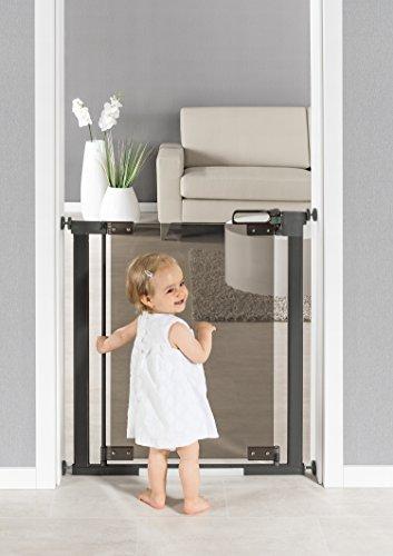 reer Grille de porte et d'escalier Puristic avec vitre en verre acrylique à serrer, sans perçage, largeur de passage de 76-96 cm, extensible