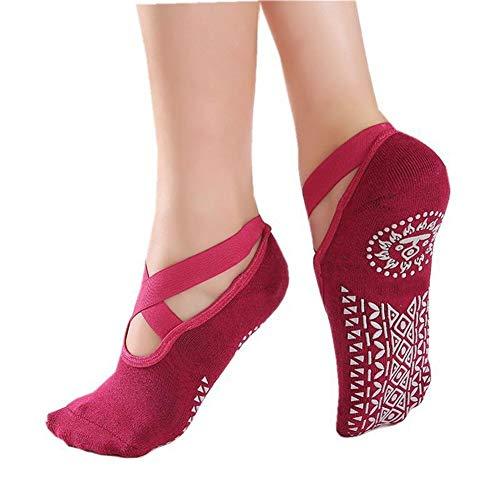 LLZY Mujeres Yoga Pilates Calcetines de Silicona Barre Calcetines Deporte de la Aptitud del calcetín Deportivo Danza Zapatillas con mordazas for Chicas Mujeres Suministros (Color : Hot Pink)