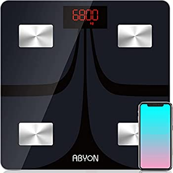 ABYON Bluetooth Smart Bathroom Scales for Body Weight Digital Body Fat Scale,Auto Monitor Body Weight,Fat,BMI,Water BMR Muscle Mass with Smartphone APP,Fitness Health Scale