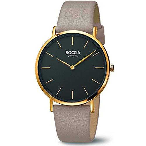 Boccia Damen Analog Quarz Uhr mit Leder Armband 3273-04