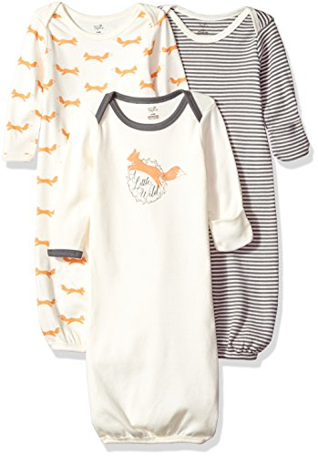 Touched by Nature Unisex Baby Organic Cotton Gowns, Fox, 0-6 Months
