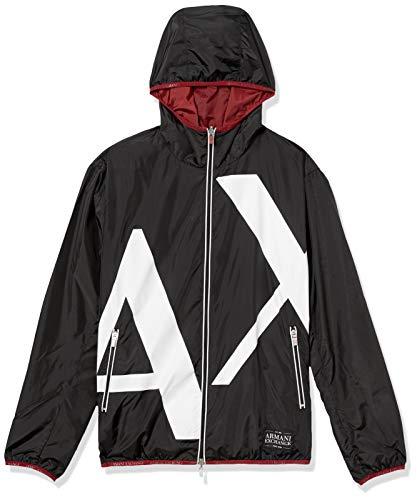 A X Armani Exchange Men's Reversable Logo Zip Up Hooded Windbreaker Jacket, Black Billboard, L