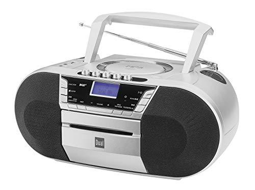 Dual Dab de p 200láser Radio con CD–Dab (+)/Radio FM–Boom Box–Reproductor de CD–Altavoz estéreo–Puerto USB–Entrada Auxiliar–Red de Funcionamiento con batería–Portátil Plata
