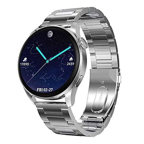 QFSLR Smartwatch Relojes Deporte Reloj De Fitness con Llamada Bluetooth Monitor De Frecuencia Cardíaca Seguimiento del Sueño con Android iOS,Plata,L