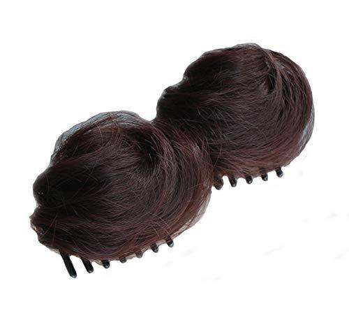 1 paire cheveux raides double queue de cheval postiches cheveux Extensions épais Claw, Brown