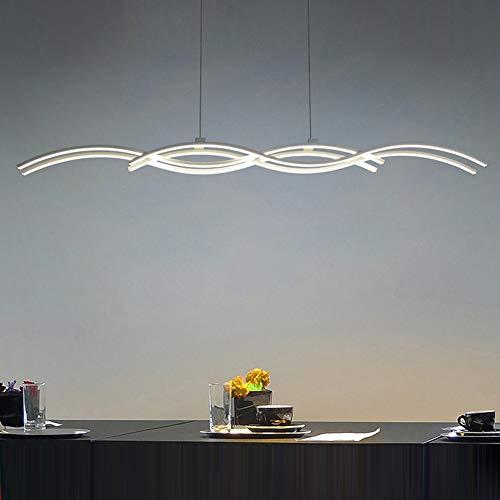 Moderne LED Suspension Lumière pendante Argent Lustre 80W Dimmable avec télécommande Lampe suspendue Vague Désign pour Îlot de cuisine Table de salle à manger Bar Loft Salle de séjour Bureau L118CM