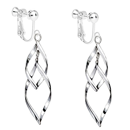 Fashion Womens White Gold Plated Clip on Earrings Hollow Leaf Dangle Earrings Wedding Prom