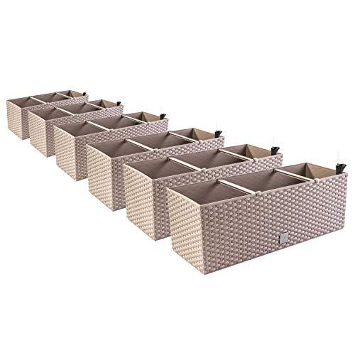 PAFEN 6in1 Set 6X Balkonkasten Blumenkasten Rattan-Optik 4 Farben Pflanztopf Wasserstandsanzeiger (Mocca)