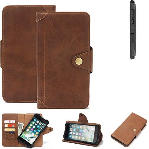 K-S-Trade® Handy-Hülle Für Cyrus CS 24 Schutz-Hülle Walletcase Bookstyle Tasche Handyhülle Schutz Case Handytasche Wallet Flipcase Cover PU Braun (1x)