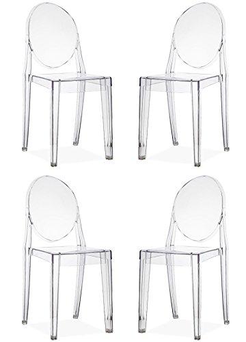 MilaniHome Set 4 sedie Trasparenti in policarbonato per Interno Sala da Pranzo Salotto Cucina Ufficio Camera Ristorante Bar gelateria albergo Hotel