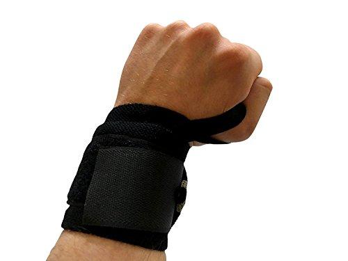Active Elite–Polsiera (set da pezzi)/AUSILI/poggiapolso/protezioni per polsi/fasce/latzug Aiuto–per Sport & Fitness–Ideale per: Bodybuilding, Atletica, Crossfit e Power Lifting, nero