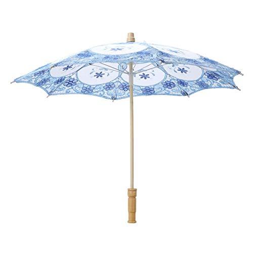 CUTULAMO Accesorios de fotografía de Tela de Seda, Paraguas de Encaje, para decoración de Bodas para Accesorios de fotografía(Light Blue, L, Blue)