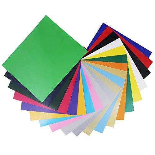 MoYouno Juego de 20 piezas de vinilo de transferencia de calor, colorido paquete de PVC HTV para telas de bricolaje, camiseta, ropa, sombrero, textil, Oxford, papel, 30 x 25 cm