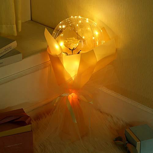 LEDルミナスバルーン ローズブーケ フラワー 花束 造花 バラ バレンタインデー フラワー 誕生日 バースデー お祝い 女性 母の日 お見舞い 結婚祝い 透明なバラの軽い気球 誕生日 装飾用 人気 プレゼント (シャンパン)