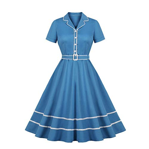 Yesmile Damen Vintage Kleid 1950er Vintage Cocktailkleid Rockabilly Retro Schwingen Kleid Faltenrock...