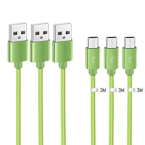 Kit Me out Cavo Cavetto Micro USB per LG K20 Plus [3 Pezzi 3M] [3.1 Amp] Trasferimento Dati e Ricarica Rapida, Intrecciato Nylon Cavi Carica Micro USB - Verde