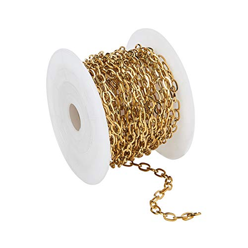 Stiesy Cadenas de cable de acero inoxidable 304 con bobina sin soldar, ovaladas y chapadas en oro, de 16,4 pies (5 m) para hacer joyas, 7 x 4 x 0,8 mm