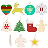 wooden animals to paint - 100 Pieces Christmas Wooden Ornaments Unfinished 10 Styles Wooden Cutouts with Holes and String for Kids DIY Crafts