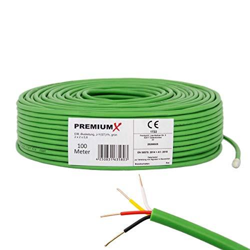 PremiumX 100m EIB Bus-Kabel J-Y(ST) Yh 2x2x0,8 Eca Busleitung Fernmeldekabel Datenkabel grün