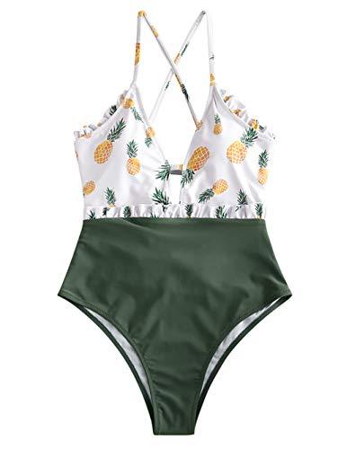 ZAFUL - Traje de baño para mujer con piñas y encaje, talla alta, una pieza verde oscuro L