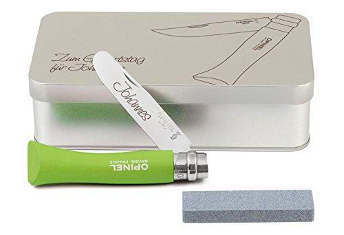 Opinel Kinder-Taschenmesser grün Geschenkdose inkl. Schleifstein und Wunschgravur auf Klinge + Dose