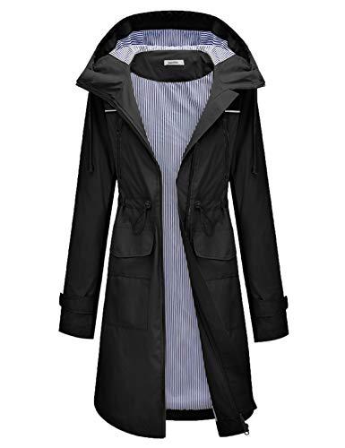 JASAMBAC Raincoat for Women with Hood Petite Waterproof Trench Coat Travel Jacket Black L
