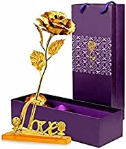 Gift Gallery Gold Plated Gold Rose With Gift Box And With Love Stand