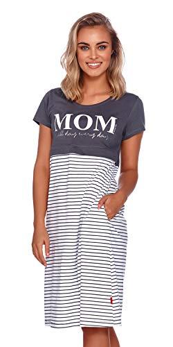 Doctor Nap - Camisón de maternidad para mujer, para hospital, para embarazo y maternidad gris M