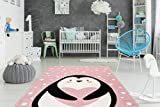 One Couture Kinderteppich Pinguin Tier Motiv Herz Kinderzimmer Teppich Bunt Rosa Weiß Wohnzimmerteppich Esszimmerteppich Teppichläufer Flur-Läufer, Größe:80cm x 150cm