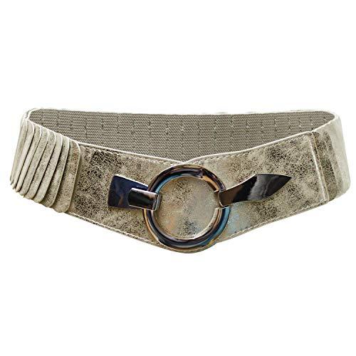 Glamexx24 Zilveren taille riem voor dames 6 cm brede gordel zilveren ring