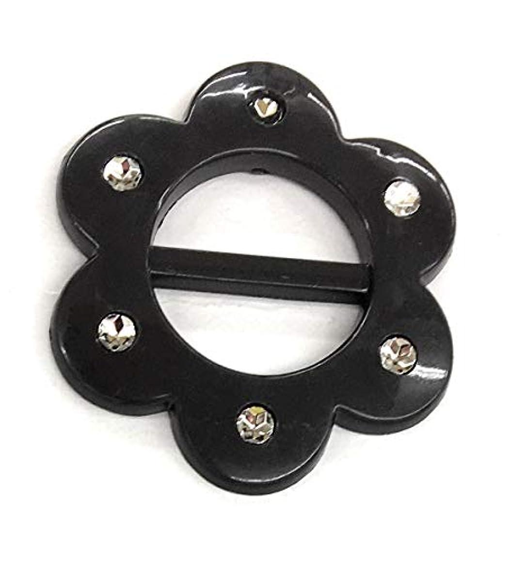 2-1/4'' Black Buckle Faux Rhinestone Belt Slider Flower (1-1/8'' Belt Inside Belt Rectangle