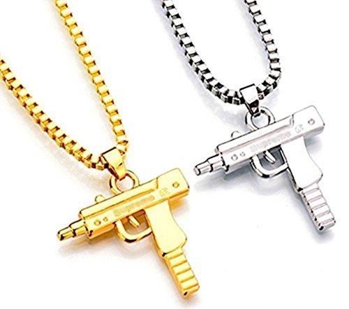 LikeforLoveJewellerys Halskette mit Anhänger in Form einer Uzi, versilbert, vergoldet, Hip-Hop