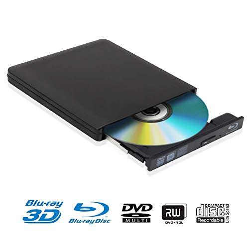 Grabador de Unidad de DVD BLU-Ray Externo 4k 3D USB 3.0 Reproductor de BD/CD/DVD RW Delgado portátil para Windows 10 7/8 / Vista/XP/Mac OS Linux
