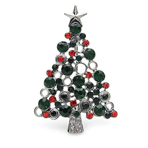 CLEARNICE Grüne Strass Kiefer Weihnachtsbaum Broschen Für Frauen Männer Neujahr Brosche Pins Geschenke
