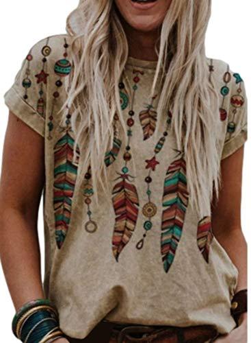 CORAFRITZ Camiseta con estampado de plumas para mujer, cuello redondo, manga corta, blusa de verano, camiseta holgada para mujer