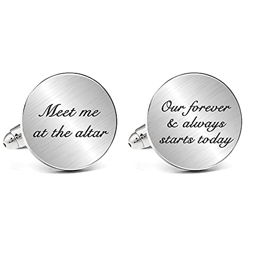 JUPPE Meet Me at The Altar Cuff Links Tie Bar Set Wedding Cufflinks Gift for Dad Groom Father Husband (Meet Me at The Altar, Our Forever & Always Stars Today)